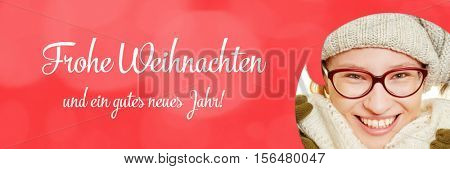 Christmas card with woman and german slogan