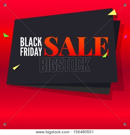 Black Friday sale, black banner with flying, colored confetti on bright red background with twisted at the corners with screws