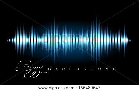 Abstract sound wave vector background. Stereo audio waveform poster