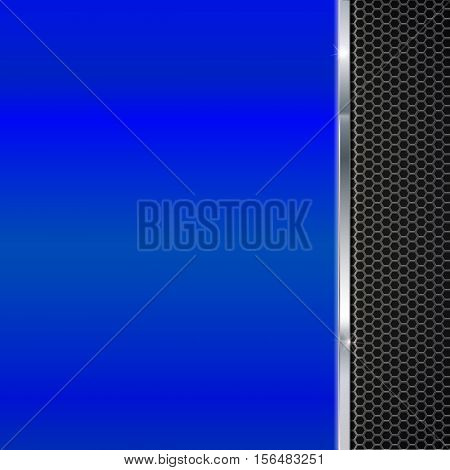 Background of polished blue metal and black metal mesh with polished metal strip. Technological background for garages, auto shops and just creativity