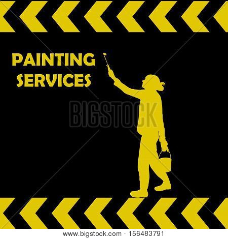 Painting services background with woman silhouette painting