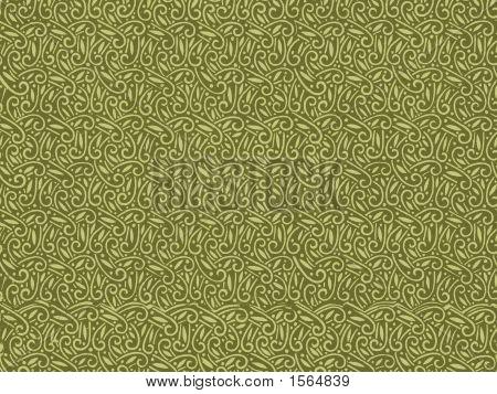 Vintage Wallpaper In Green