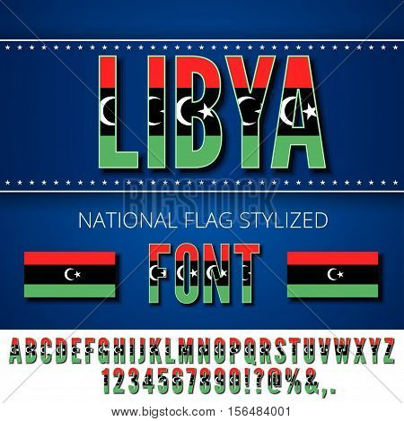 Libya national flag flat stylized font. Alphabet and Numbers in Vector Set