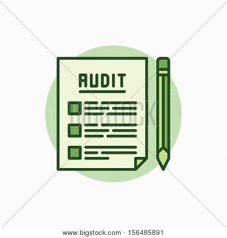Audit documents green icon. Vector document with pencil concept flat symbol. Auditing colored sign
