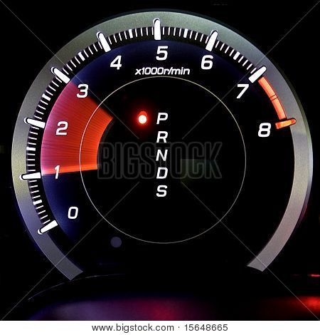 Tachometer isolated on black