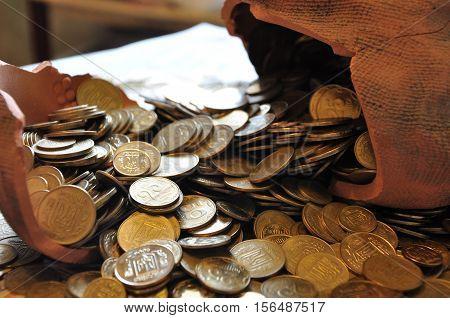 Ukrainian Coins In Broken Moneybox