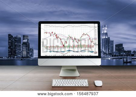 Business computer on wood table showing business trading graph with cityscape building in background Business trading technology concept