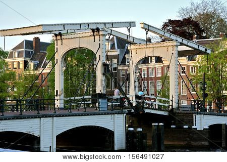 skinny bridge or magere brug in Amsterdam crossing the amstel river