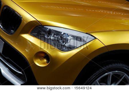 PARIS, FRANCE - OCTOBER 02: Paris Motor Show on October 02, 2008, showing BMW Concept X1, front light detail