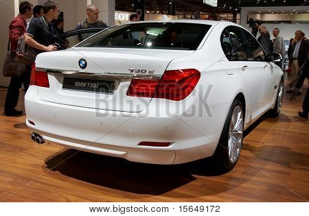 PARIS, FRANCE - OCTOBER 02: Paris Motor Show on October 02, 2008, showing BMW 7-series, rear view