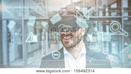 Security interface against businessman using virtual reality goggles