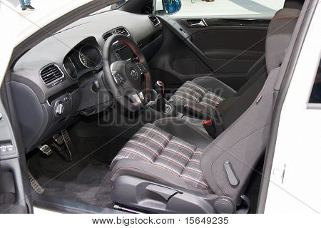 PARIS, FRANCE - OCTOBER 02: Paris Motor Show on October 02, 2008, showing Volkswagen Golf GTI, interior view