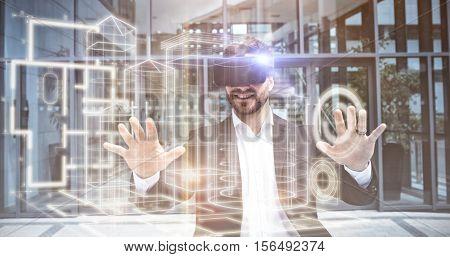 Blueprint interface against businessman using reality virtual headset