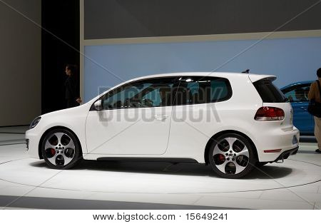 PARIS, FRANCE - OCTOBER 02: Paris Motor Show on October 02, 2008, showing Volkswagen Golf GTI, side view