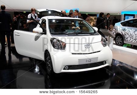 PARIS, FRANCE - OCTOBER 02: Paris Motor Show on October 02, 2008, showing Toyota iQ, front view