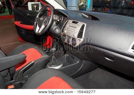 PARIS, FRANCE - OCTOBER 02: Paris Motor Show on October 02, 2008, showing Hyundai i20, interior view