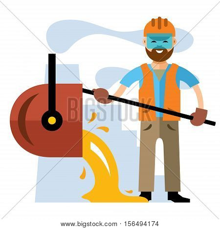 Metallurgist pours the molten metal. Isolated on a white background