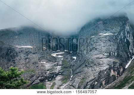 Foggy view of the famous Troll wall in Norway. Famous for base jumpers.