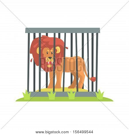 Dangerous Lion With Big Mane Standing Behind The Cage Bars In The Zoo. Wild Animal Enclosed In Outdoor Zoological Park Funky Style Illustration On White Background.