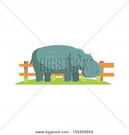 Relaxed Grey Hippo Standing On Green Grass Patch In Open Air Zoo Enclosure. Wild Animal Enclosed In Outdoor Zoological Park Funky Style Illustration On White Background.