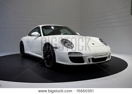 PARIS, FRANCE - SEPTEMBER 30: Paris Motor Show on September 30, 2010, in Paris showing Porsche 911 Carrera GTS, front view