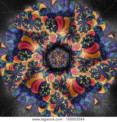 3D Render Of Colorful Plastic Fractal Flower Disc