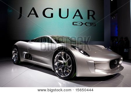 PARIS, FRANCE - SEPTEMBER 30: Paris Motor Show on September 30, 2010, showing Jaguar C-X75, front view