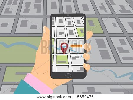 Mobile gps navigation on mobile phone. Hand holds smartphone with city map on screen. Vector illustration flat design. Icon isolated GPS mobile device.