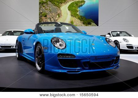 PARIS, FRANCE - SEPTEMBER 30: Paris Motor Show on September 30, 2010 in Paris, showing Porsche 911 Speedster, front view