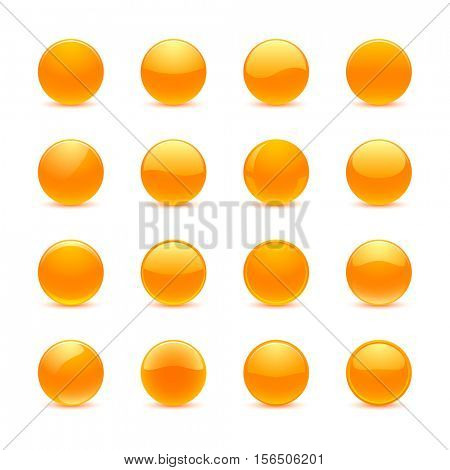 Blank orange round buttons for website or app