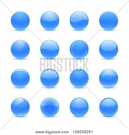 Blank blue round buttons for website or app
