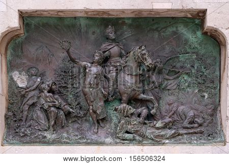 DUBROVNIK, CROATIA - DECEMBER 01: Relief on a monument from 1893 of poet Ivan Gundulic in Dubrovnik, Croatia on December 01, 2015.