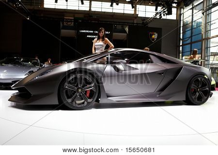 PARIS, FRANCE ? SEPTEMBER 30: Paris Motor Show on September 30, 2010 in Paris, showing Lamborghini Sesto Elemento Concept, side view