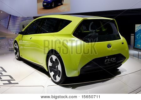 PARIS, FRANCE - SEPTEMBER 30: Paris Motor Show on September 30, 2010 in Paris, showing Toyota FT-CH Compact Hybrid, rear view