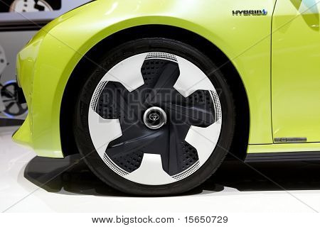 PARIS, FRANCE - SEPTEMBER 30: Paris Motor Show on September 30, 2010 in Paris, showing Toyota FT-CH Compact Hybrid, wheel closeup view