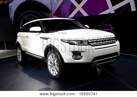 PARIS, FRANCE - SEPTEMBER 30: Paris Motor Show on September 30, 2010 in Paris, showing Range Rover Evoque, front view