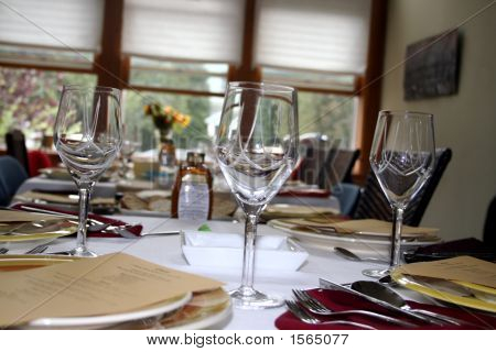 Close-up of a table set for dinner