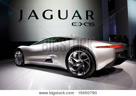 PARIS, FRANCE - SEPTEMBER 30: Paris Motor Show on September 30, 2010 in Paris, showing Jaguar C-X75, rear view