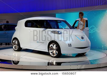 PARIS, FRANCE - SEPTEMBER 30: Nissan Townpod Zero Emission at Paris Motor Show on September 30, 2010 in Paris