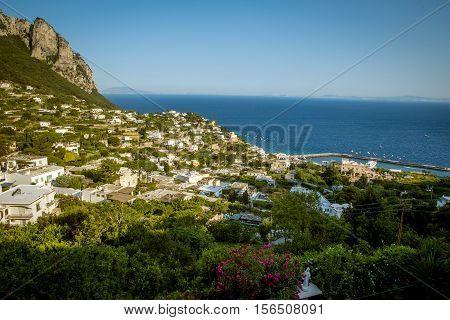 Panorama of Capri Island with view on Marina Grande, Italy