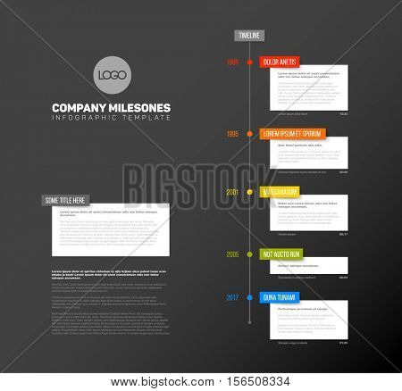 Vector Infographic  timeline report template with the biggest milestones,  years and description - dark timeline template version