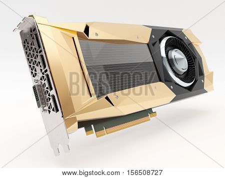 Golden graphic video card. High quality 3d render