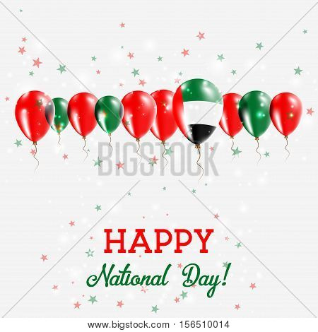 United Arab Emirates Independence Day Sparkling Patriotic Poster. Happy Independence Day Card With U
