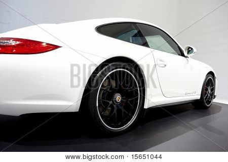 PARIS, FRANCE - SEPTEMBER 30: Paris Motor Show on September 30, 2010 in Paris, showing Porsche 911 Carrera GTS, rear detail view