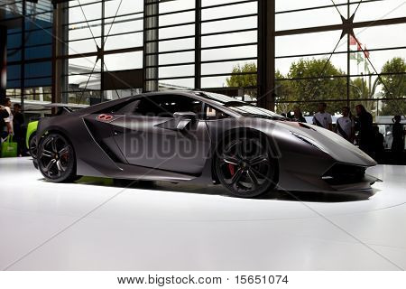 PARIS, FRANCE - SEPTEMBER 30: Paris Motor Show on September 30, 2010 in Paris, showing Lamborghini Sesto Elemento Concept, side view