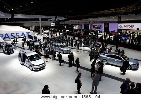PARIS, FRANCE - SEPTEMBER 30: Volkswagen stand at Paris Motor Show on September 30, 2010 in Paris