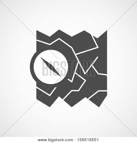 Vector flat map and compass icon. Isolated black icon for logo web site design app UI. Flat travel illustration for posters cards book cover flyers banner web game designs.