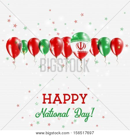 Iran, Islamic Republic Of Independence Day Sparkling Patriotic Poster. Happy Independence Day Card W