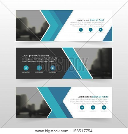 Blue abstract triangle corporate business banner template horizontal advertising business banner layout template flat design set clean abstract cover header background for website design