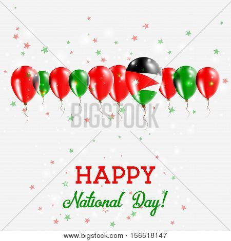 Jordan Independence Day Sparkling Patriotic Poster. Happy Independence Day Card With Jordan Flags, C